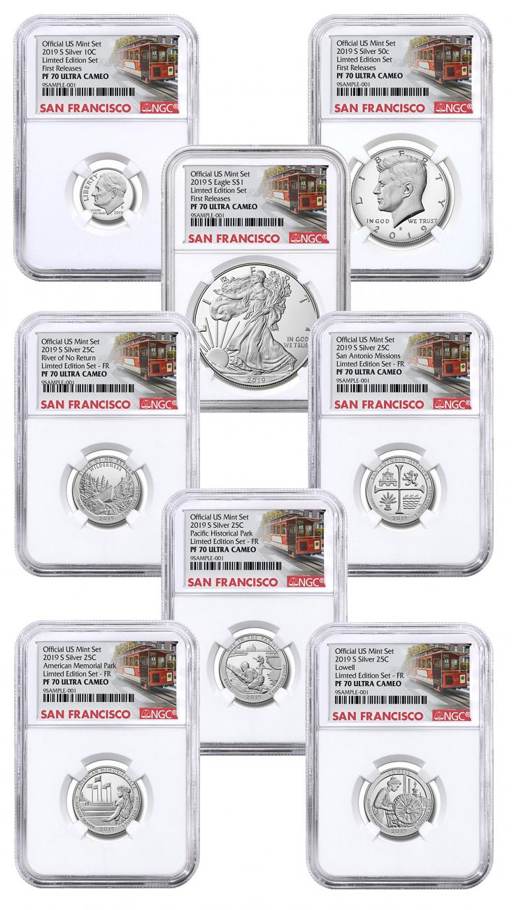 8-Coin Set - 2019-S U.S. Limited Edition Silver Proof Coins Set NGC PF70 UC FR San Francisco Cable Car Label