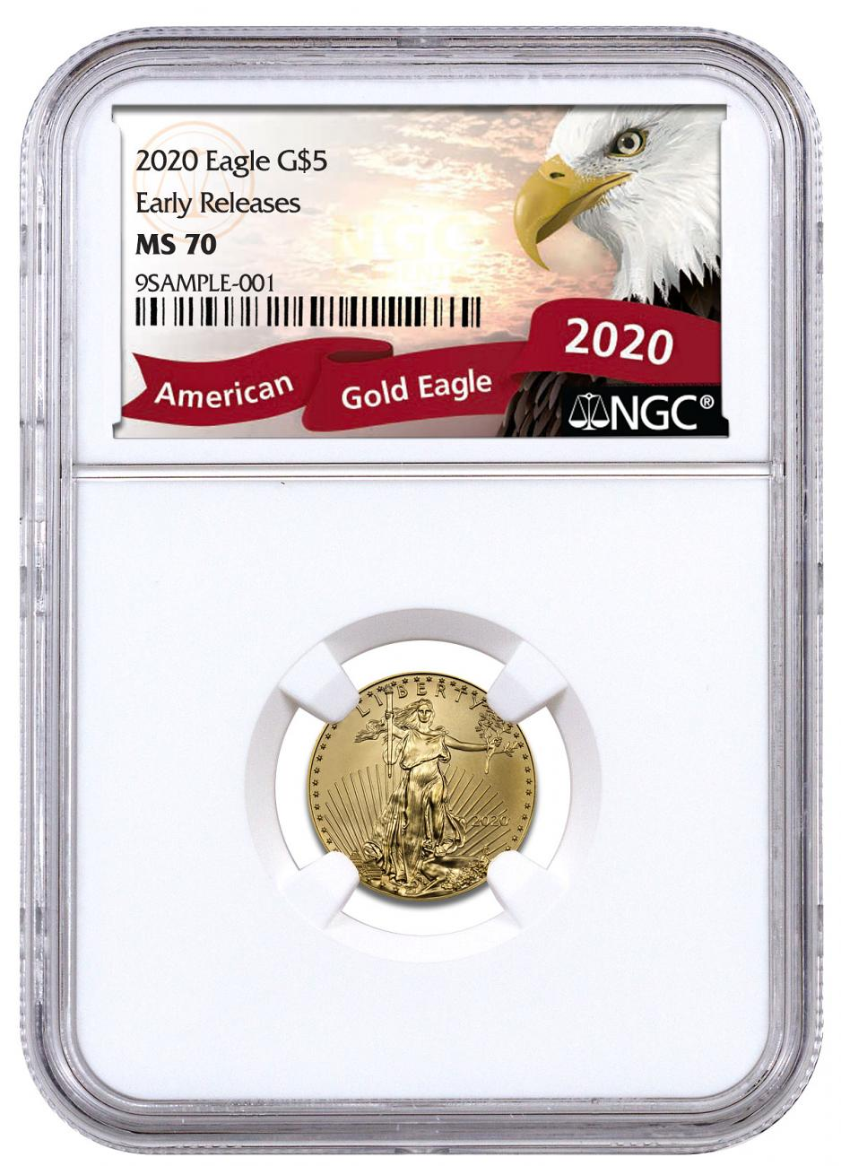2020 1/10 oz Gold American Eagle $5 NGC MS70 ER Exclusive Eagle Label