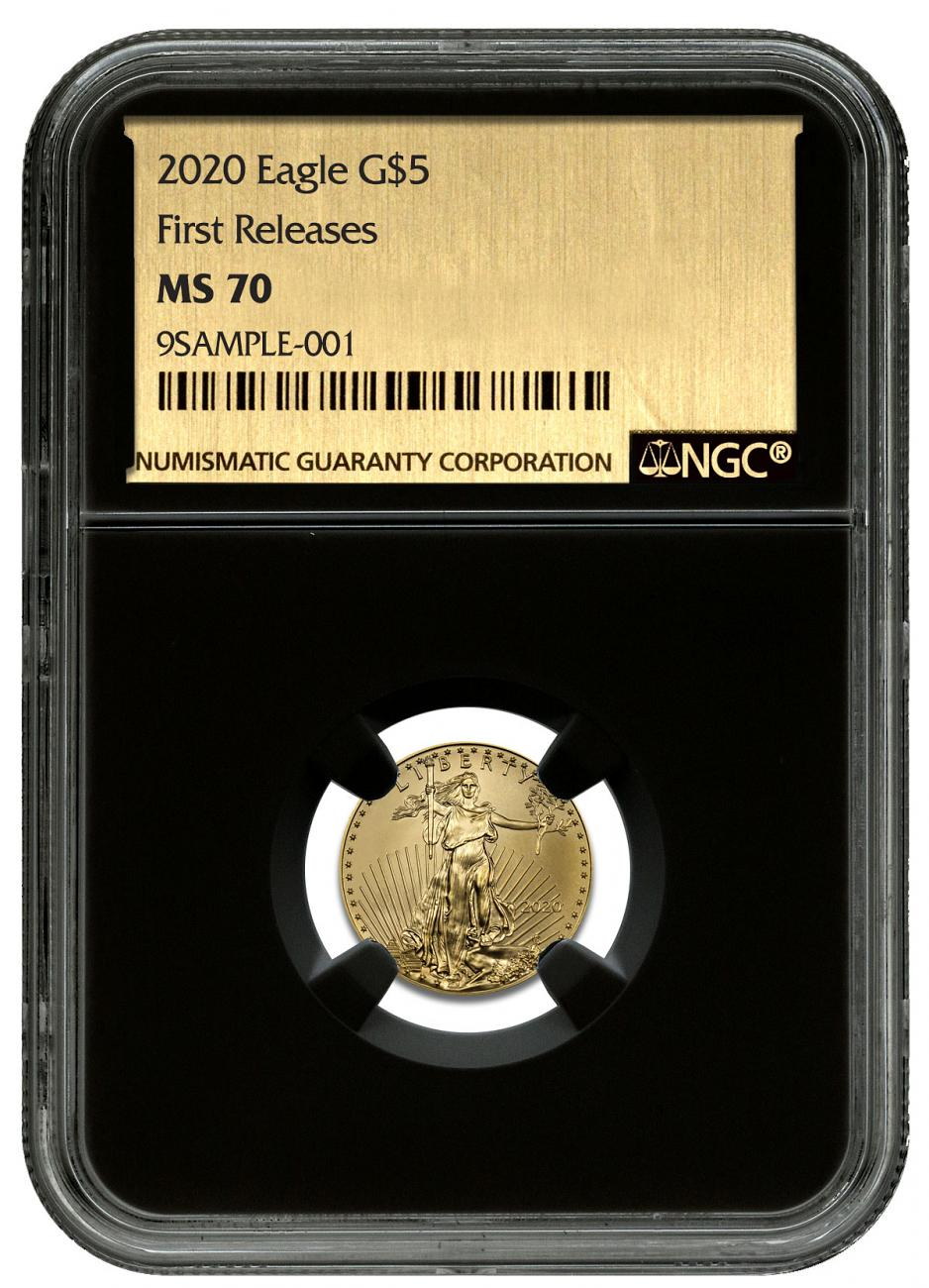 2020 1/10 oz Gold American Eagle $5 NGC MS70 FR Black Core Holder Exclusive Gold Foil Label