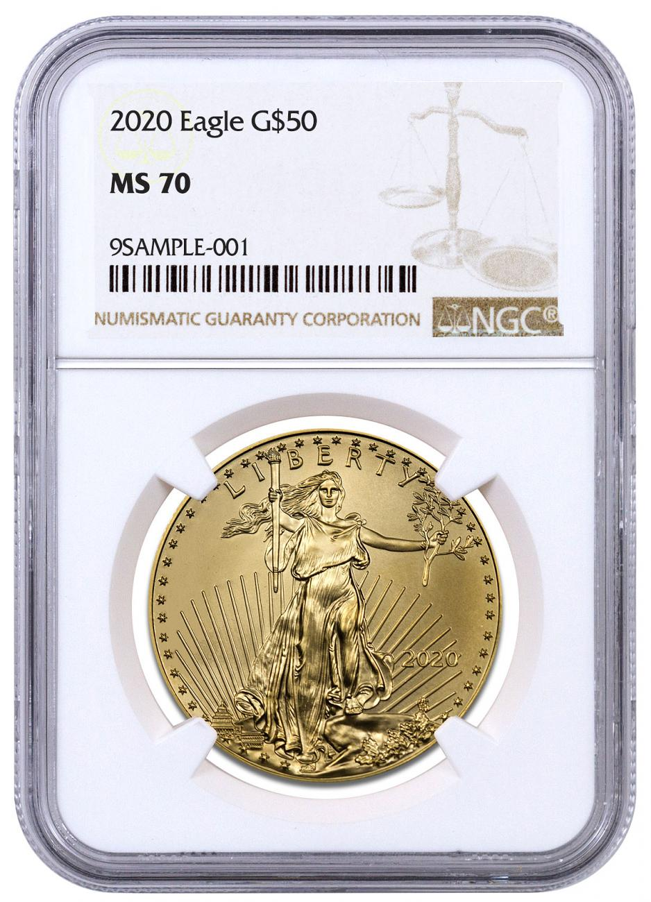 2020 1 oz Gold American Eagle $50 NGC MS70 Brown Label