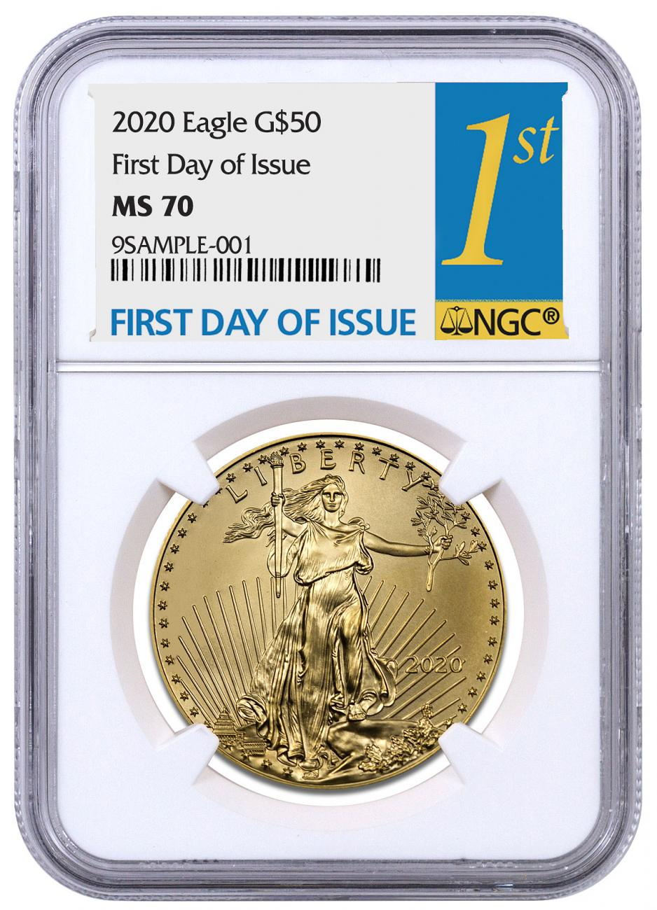 2020 1 oz Gold American Eagle $50 NGC MS70 FDI