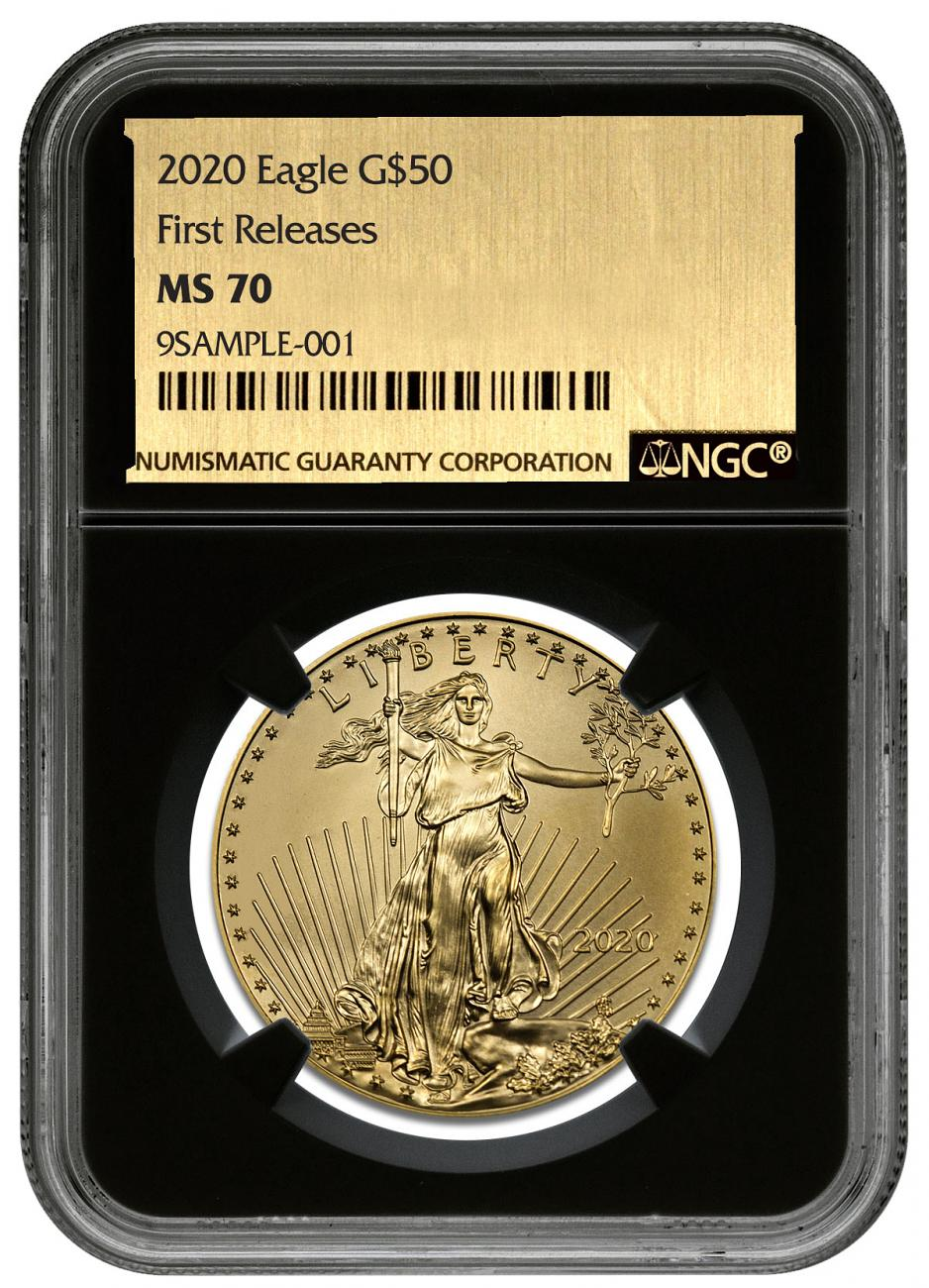 2020 1 oz Gold American Eagle $50 NGC MS70 FR Black Core Holder Exclusive Gold Foil Label