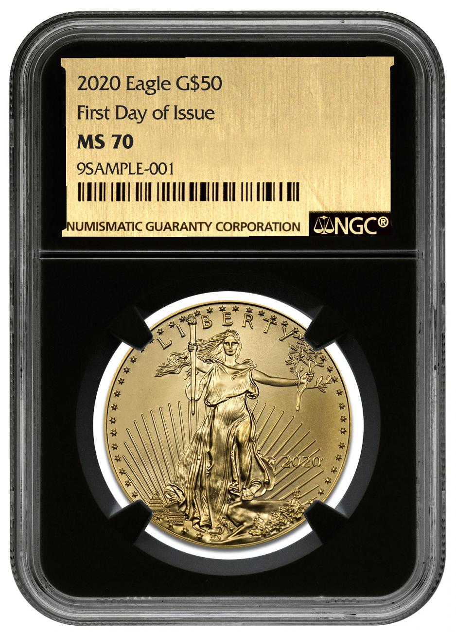 2020 1 oz Gold American Eagle $50 NGC MS70 FDI Black Core Holder Exclusive Gold Foil Label
