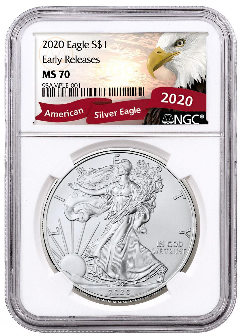 2020 1 oz American Silver Eagle $1 Coin NGC MS70 ER Exclusive Eagle Label