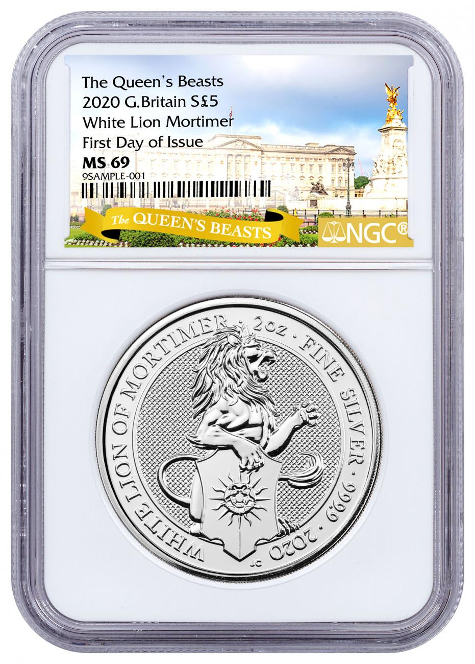 2020 Great Britain 2 oz Silver Queen's Beasts - White Lion of Mortimer £5 Coin NGC MS69 FDI Exclusive Queen's Beasts Label