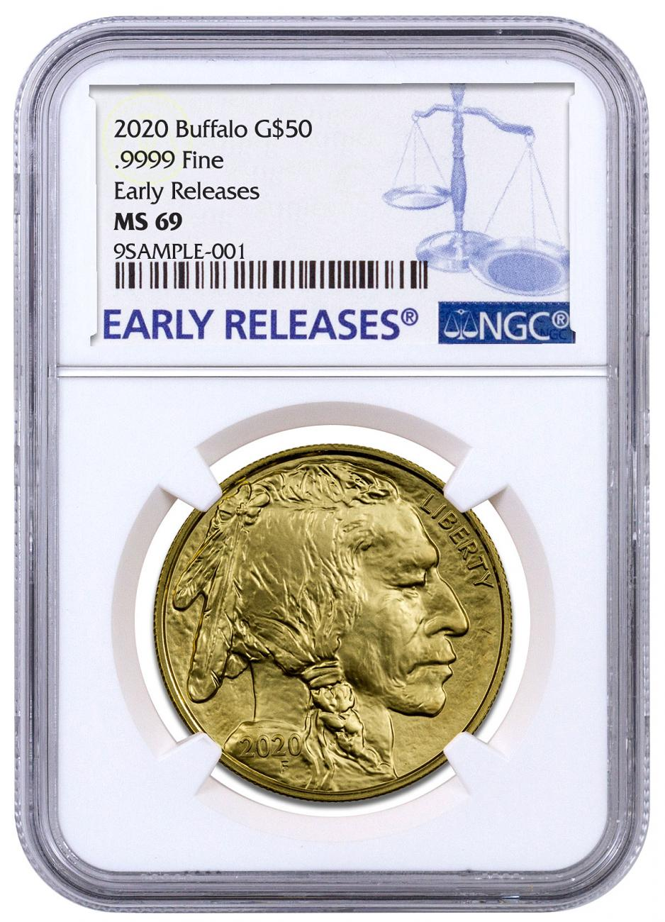 2020 1 oz Gold Buffalo $50 Coin NGC MS69 ER Blue Label