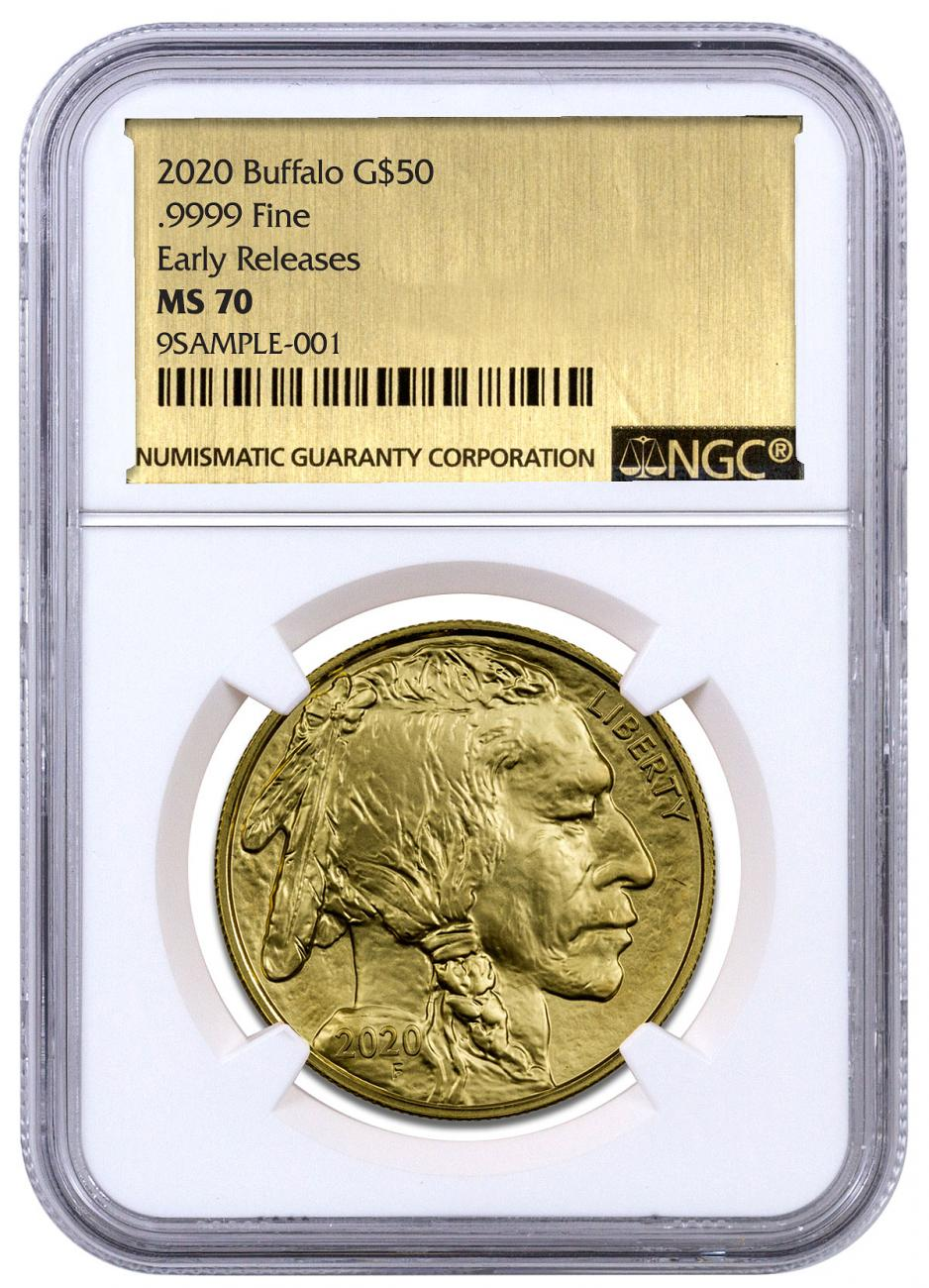 2020 1 oz Gold Buffalo $50 Coin NGC MS70 ER Exclusive Gold Foil Label