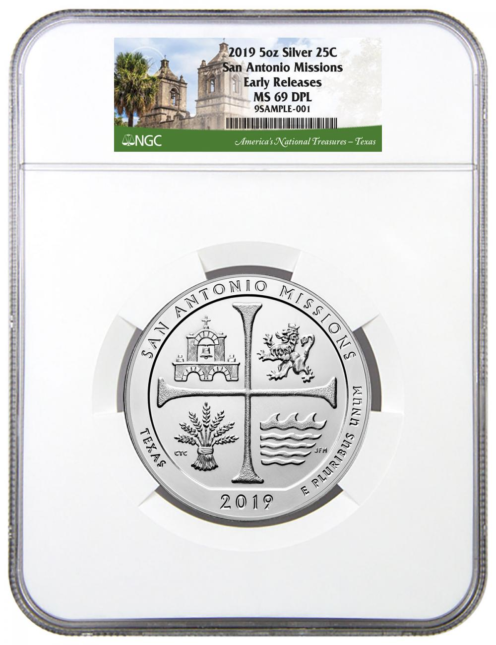 2019 San Antonio Missions Historical Park 5 oz. Silver ATB America the Beautiful Coin NGC MS69 DPL ER