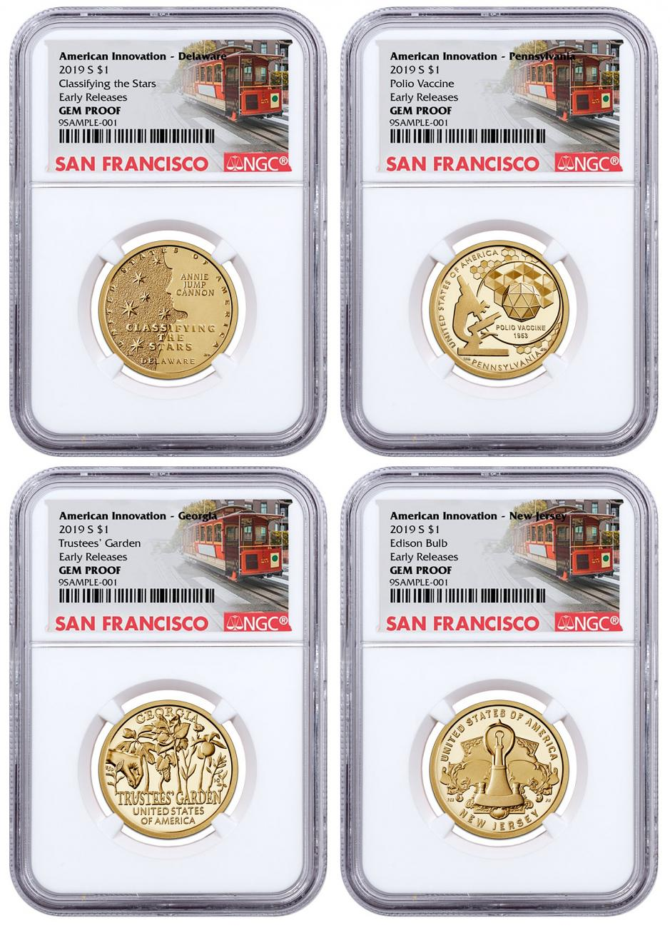 2019-S American Innovation 4-Coin Dollar Proof Set NGC GEM Proof ER San Francisco Cable Car Label