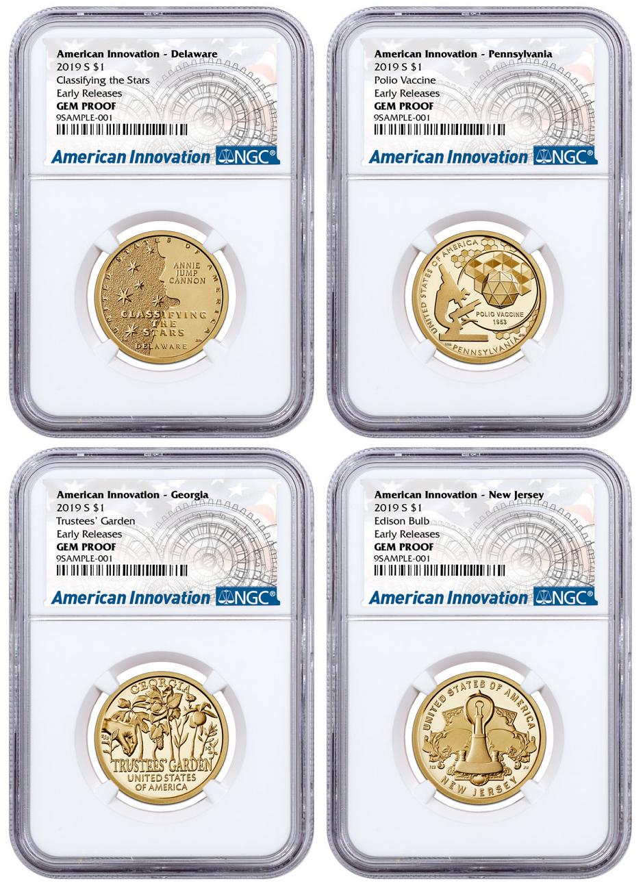 2019-S American Innovation 4-Coin Dollar Proof Set NGC GEM Proof ER American Innovation Label