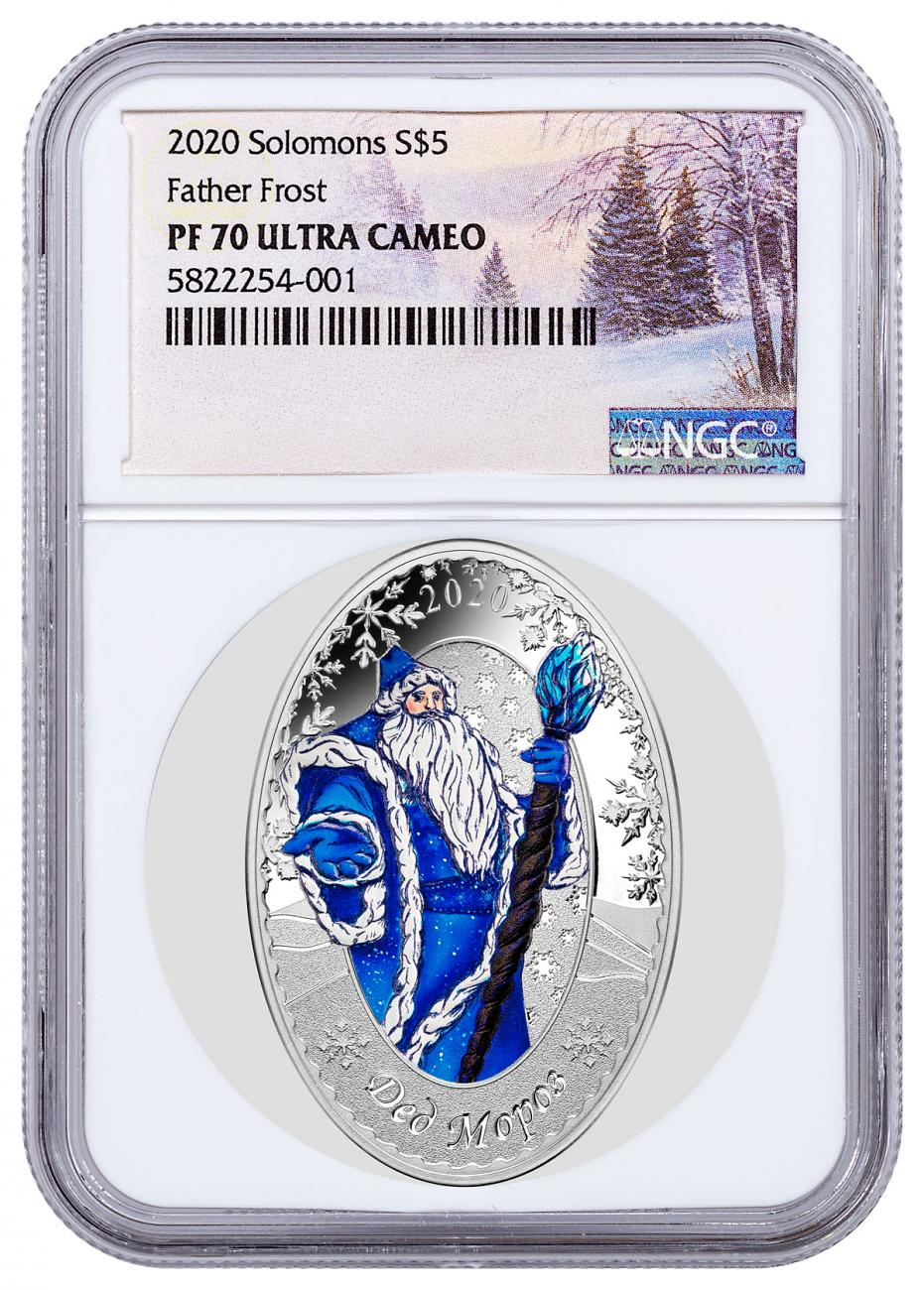 2020 Solomon Islands Father Frost Oval-Shaped 1 oz Silver Proof $5 Coin NGC PF70 UC