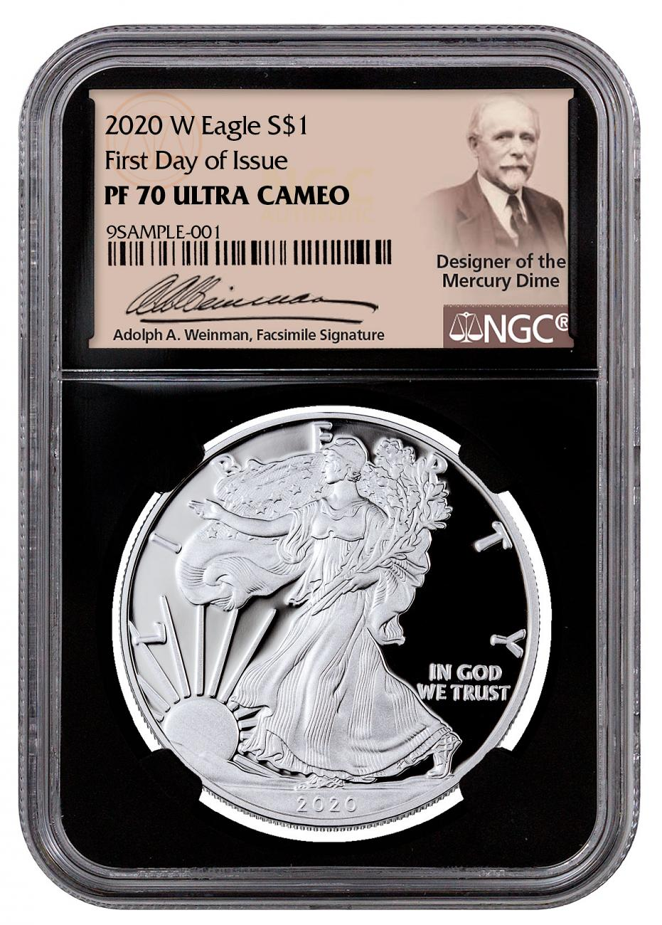 2020-W 1 oz Proof Silver American Eagle $1 Coin NGC PF70 UC FDI Black Core Holder Exclusive Weinman Label
