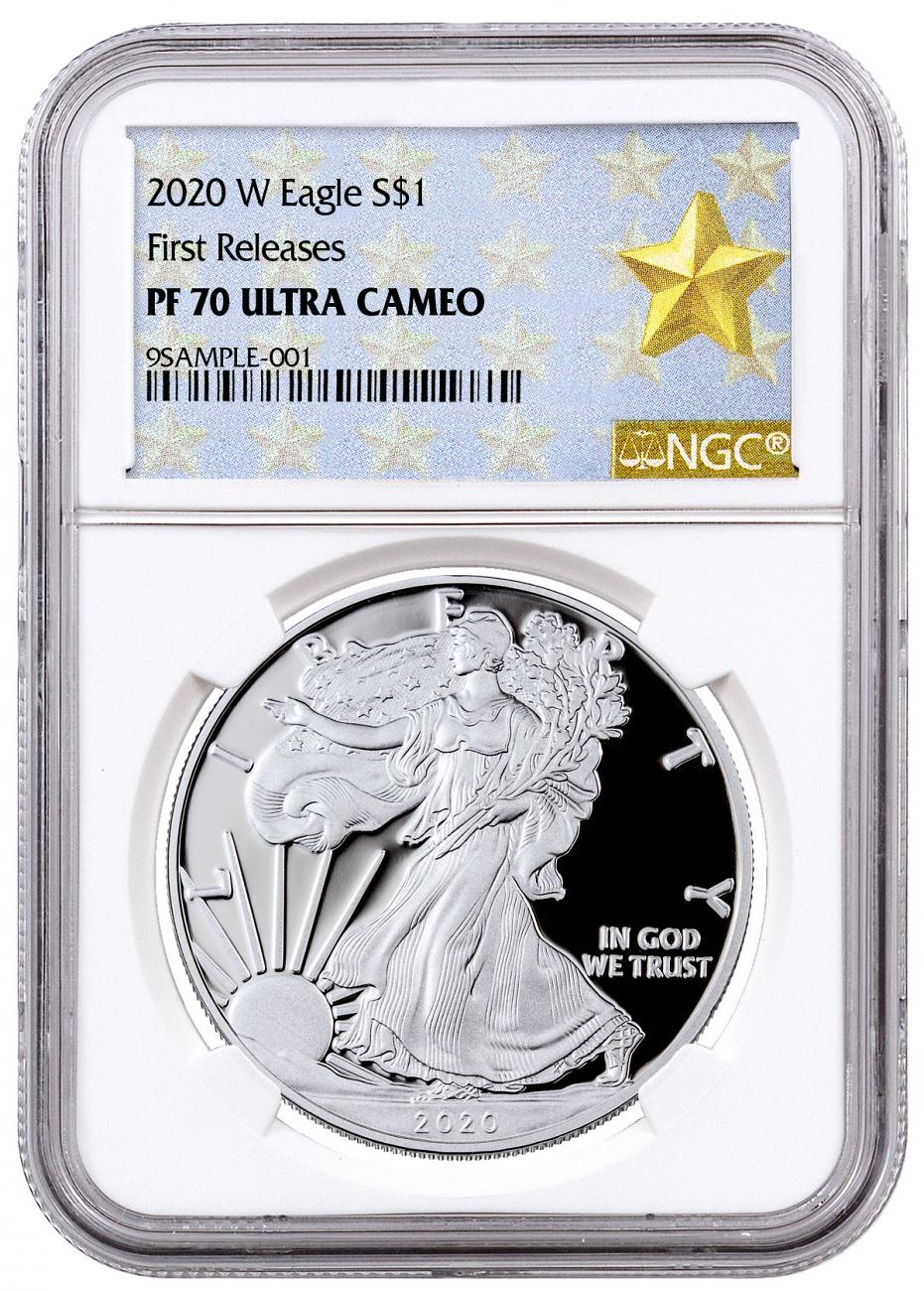 2020-W 1 oz Proof Silver American Eagle $1 Coin NGC PF70 UC FR West Point Gold Star Label