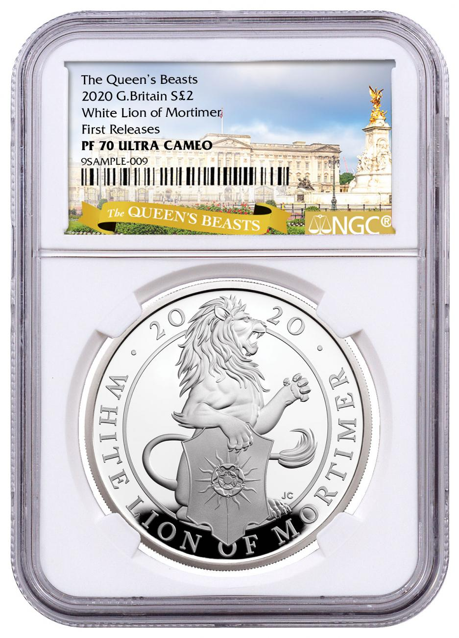 2020 Great Britain 1 oz Silver Queen's Beasts - White Lion of Mortimer Proof £2 Coin NGC PF70 UC FR Queen's Beasts Label