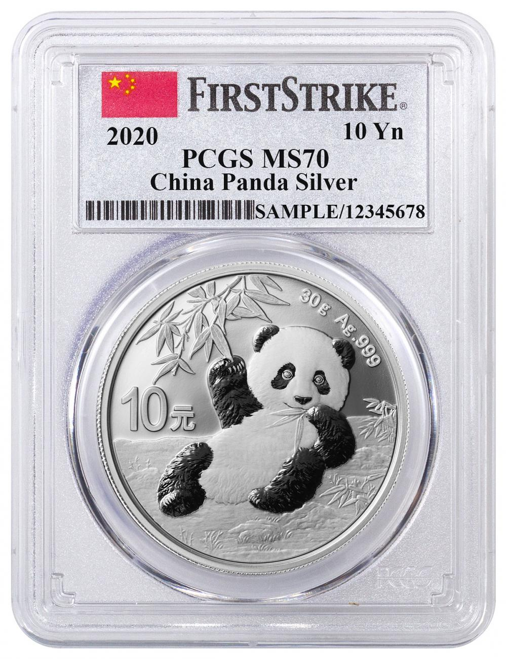 2020 China 30 g Silver Panda ¥10 Coin PCGS MS70 FS China Flag Label