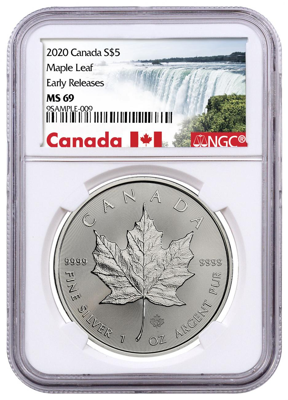 2020 Canada 1 oz Silver Maple Leaf $5 Coin NGC MS69 ER Exclusive Canada Label