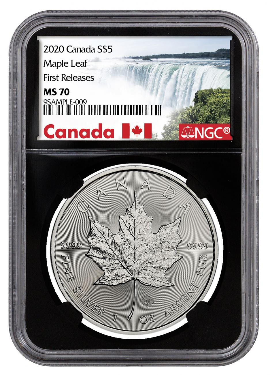 2020 Canada 1 oz Silver Maple Leaf $5 Coin NGC MS70 FR Black Core Holder Exclusive Canada Label