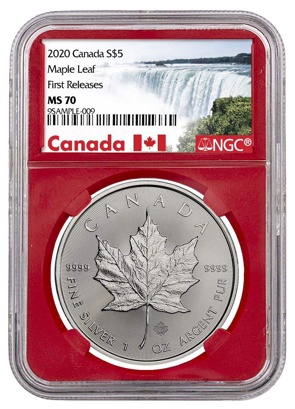 2020 Canada 1 oz Silver Maple Leaf $5 Coin NGC MS70 FR Red Core Holder Exclusive Canada Label
