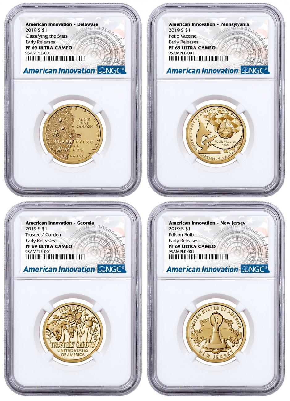 2019-S American Innovation 4-Coin Dollar Proof Set NGC PF69 ER American Innovation Label