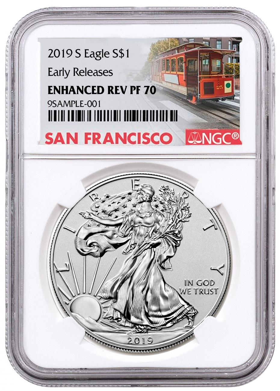 2019-S Enhanced Reverse Proof American Silver Eagle NGC PF70 ER Trolley Label