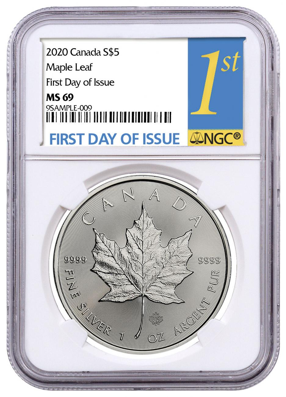 2020 Canada 1 oz Silver Maple Leaf $5 Coin NGC MS69 FDI 1st Day Label