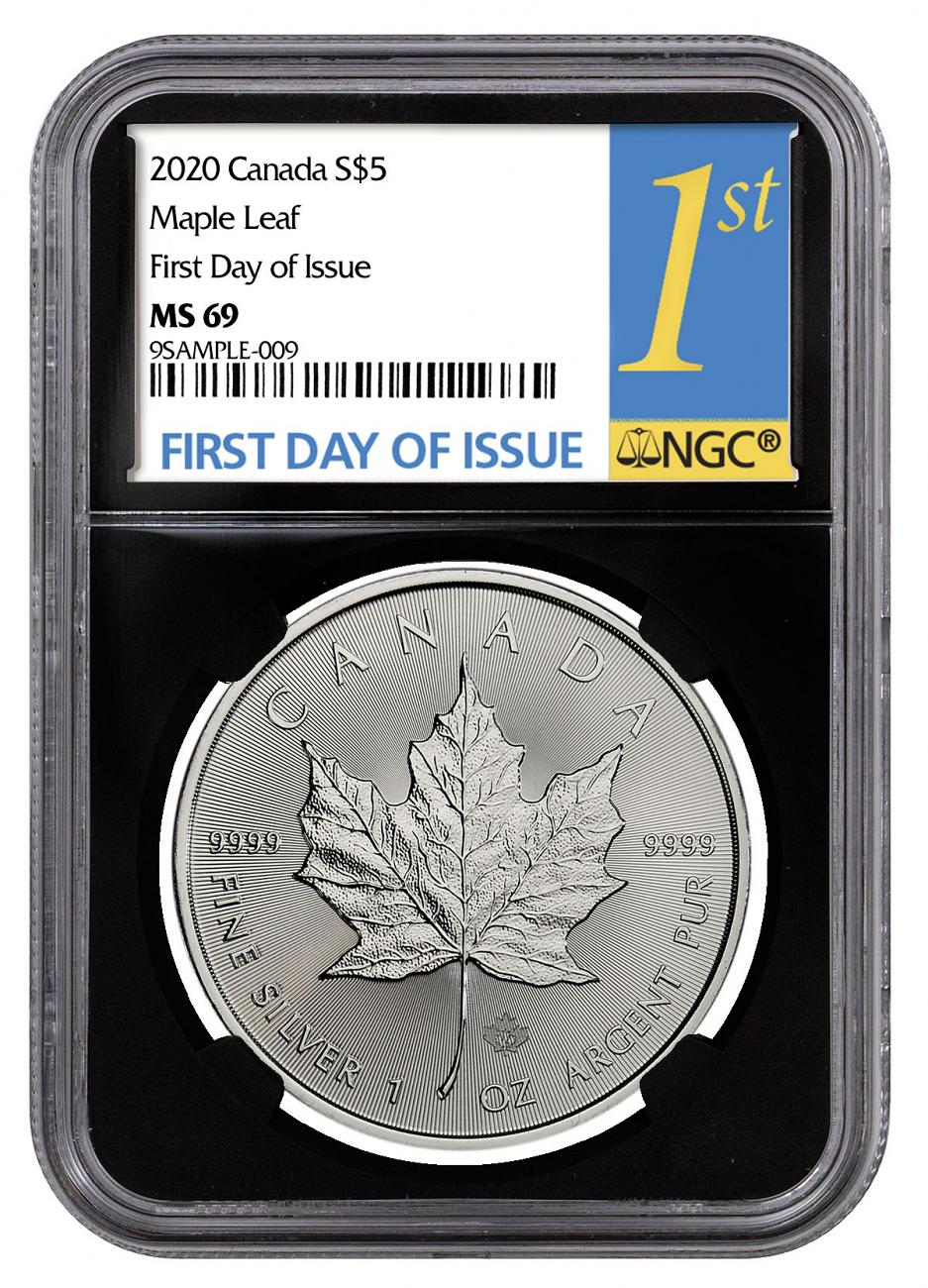2020 Canada 1 oz Silver Maple Leaf $5 Coin NGC MS69 FDI Black Core Holder 1st Day Label