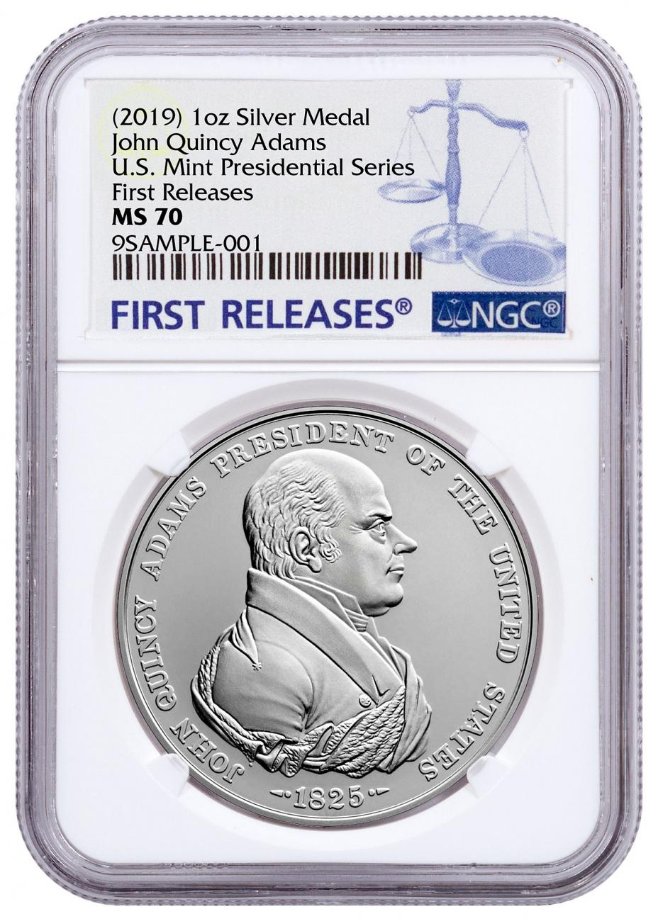 (2019) United States John Quincy Adams Presidential 1 oz Silver Medal NGC MS70 FR