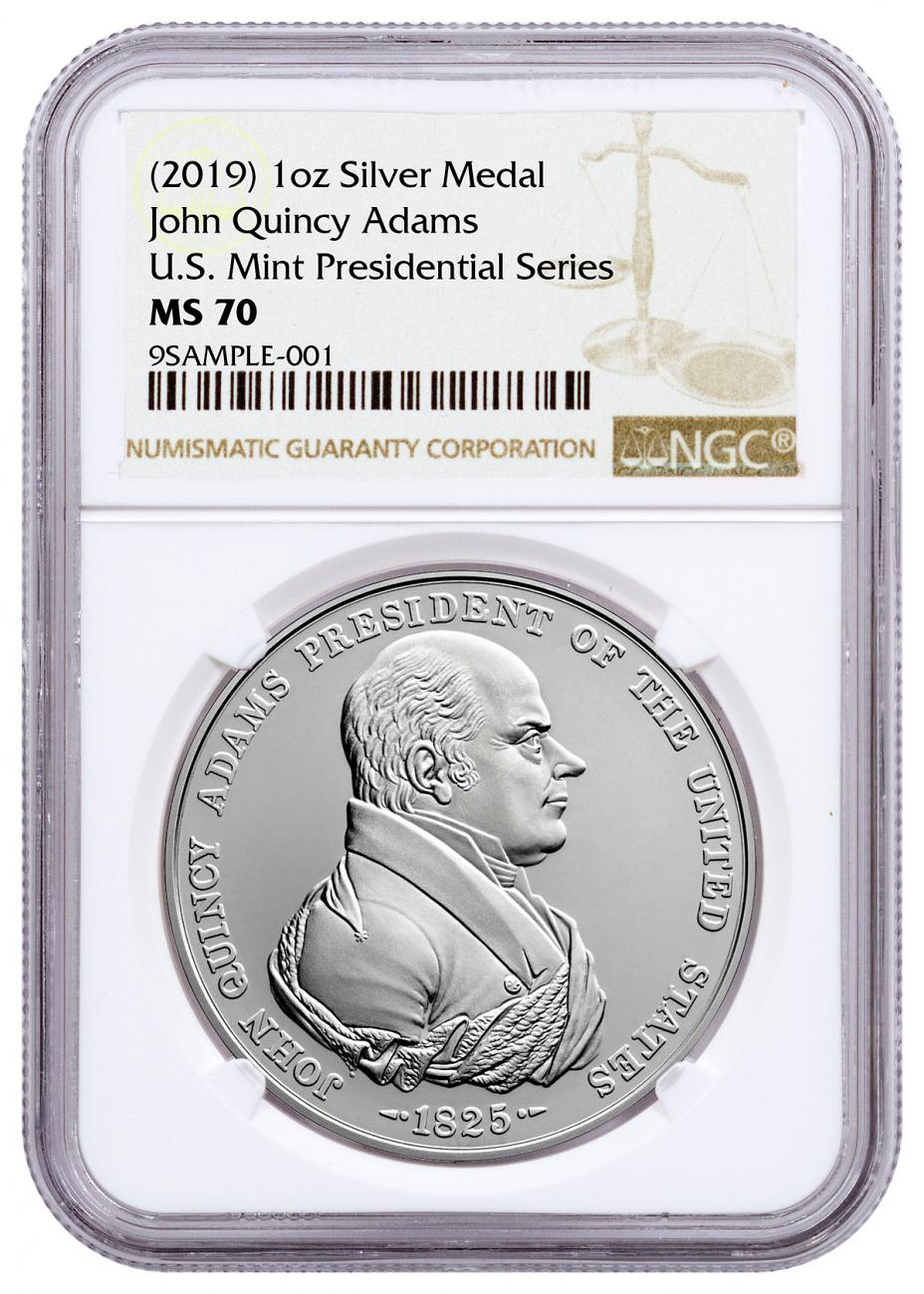 (2019) United States John Quincy Adams Presidential 1 oz Silver Medal NGC MS70