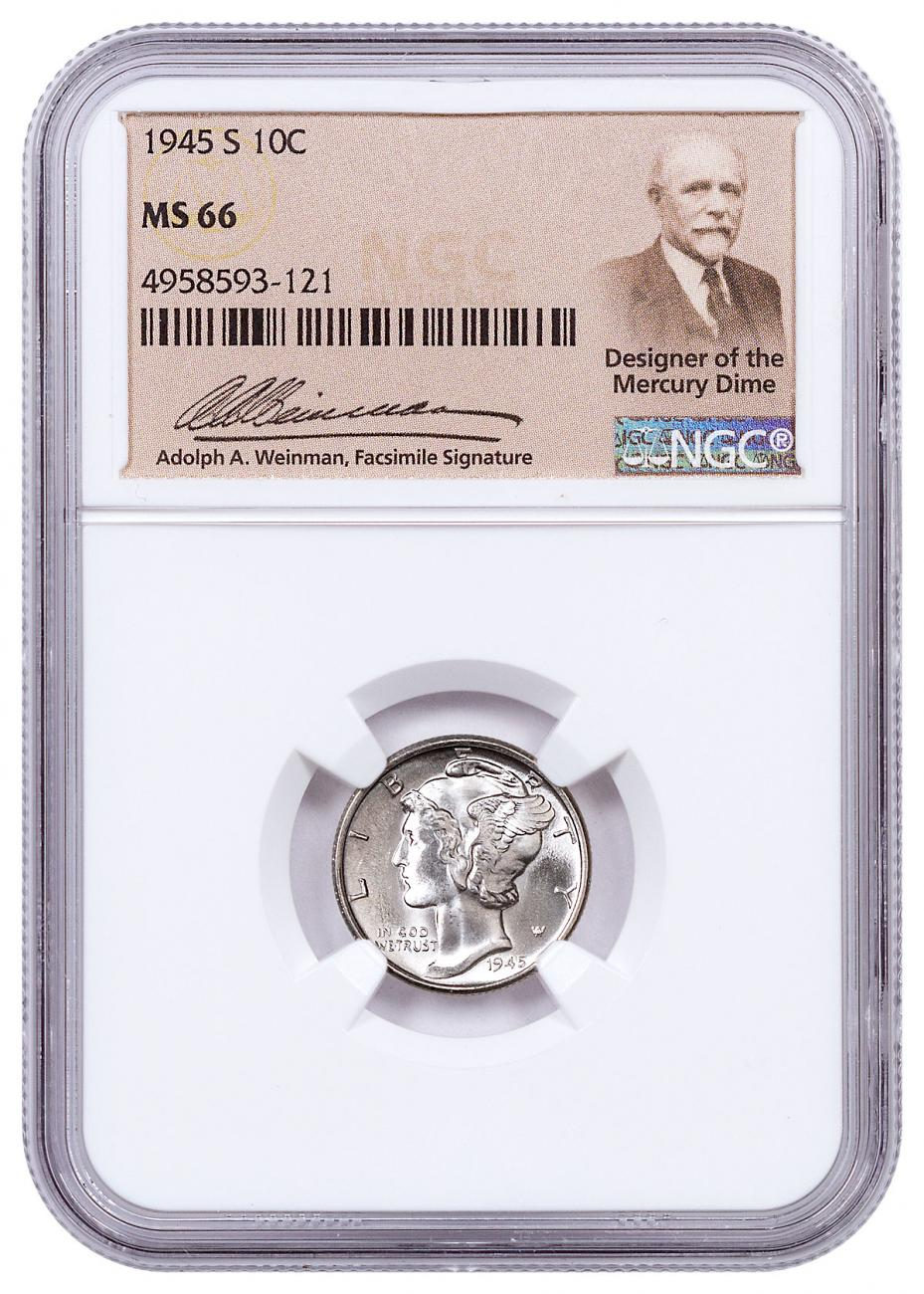 1945-S Silver Mercury Dime NGC MS66 Exclusive Weinman Label