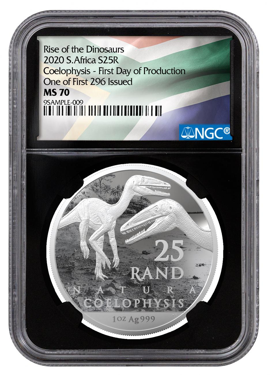 2020 South Africa 1 oz Silver Natura R25 Coin NGC MS70 One of the First 296 Issued First Day Production Black Core Holder South African Flag Label