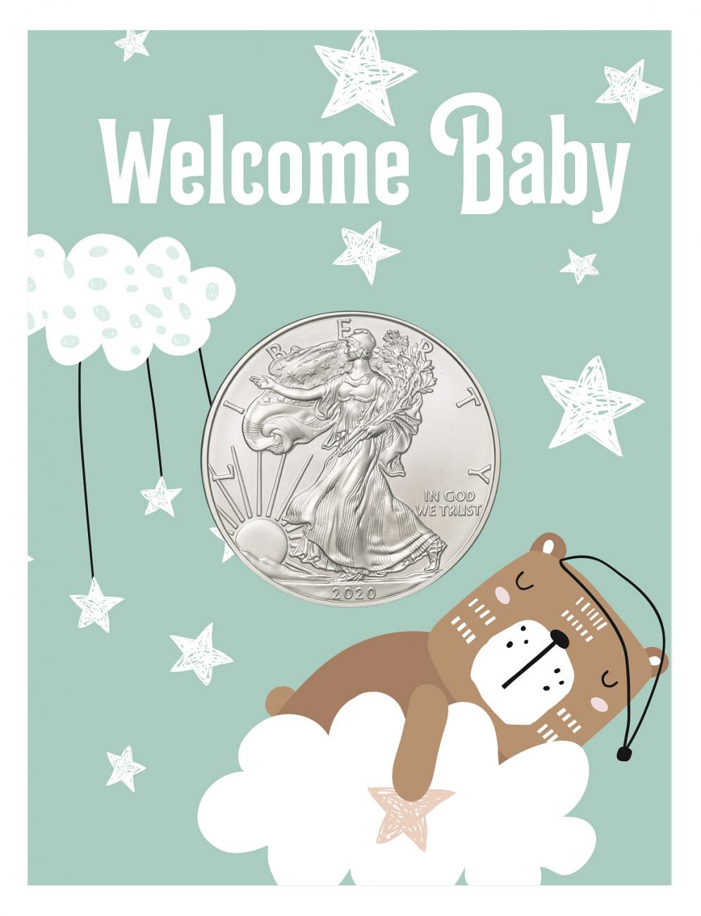 2020 1 oz. American Silver Eagle $1 Coin New Baby Coin Card BU