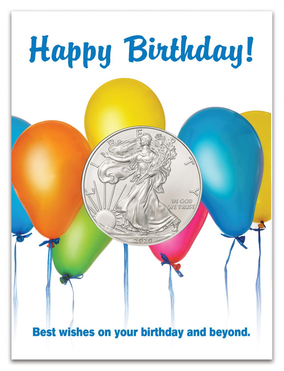 2020 1 oz. American Silver Eagle $1 Coin Birthday Balloons Coin Card GEM BU