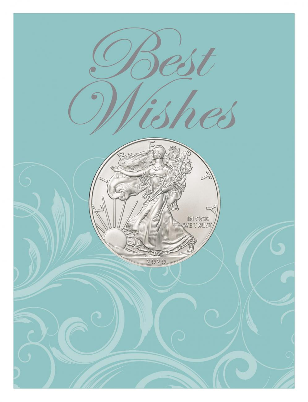 2020 1 oz. American Silver Eagle $1 Coin Best Wishes Coin Card BU
