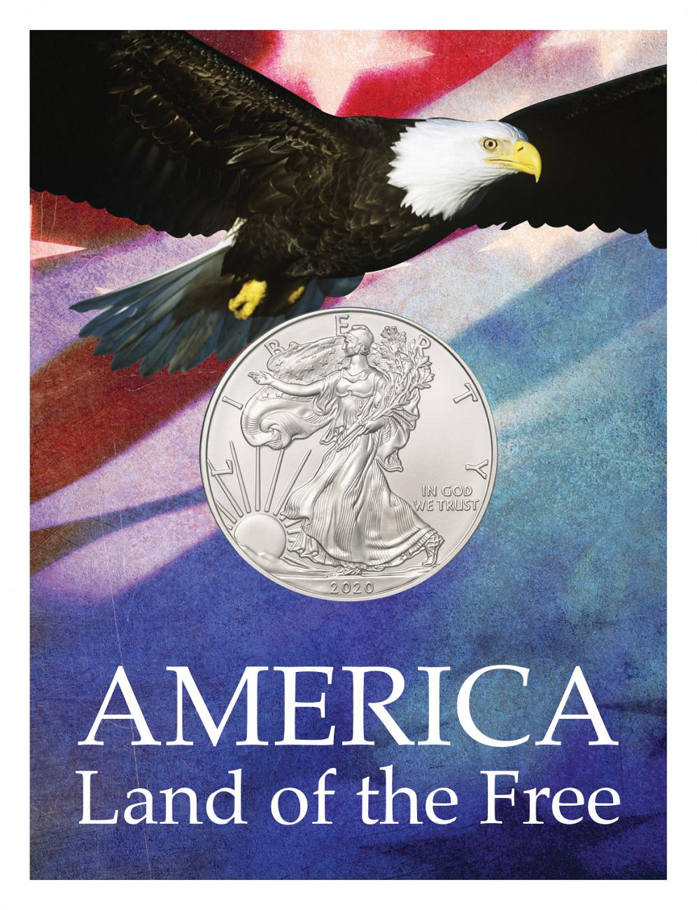 2020 1 oz. American Silver Eagle $1 Coin Patriotic Land of the Free Coin Card GEM BU