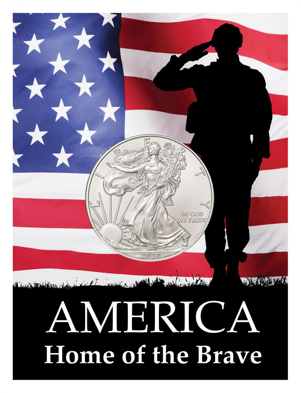 2020 1 oz. American Silver Eagle $1 Coin Patriotic Home of the Brave Coin Card BU