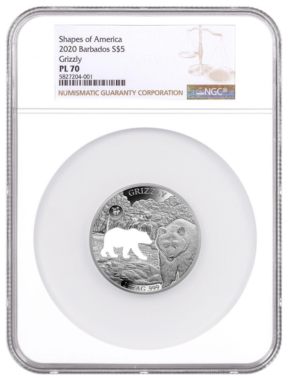 2020 Barbados Shapes of America - Cut-Out High Relief 1 oz Proof-Like Silver $5 Coin Grizzly NGC PL70