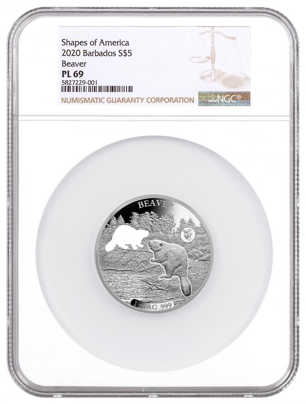 2020 Barbados Shapes of America - Cut-Out High Relief 1 oz Proof-Like Silver $5 Coin Beaver NGC PL69