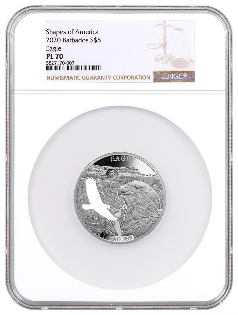 2020 Barbados Shapes of America - Cut-Out High Relief 1 oz Proof-Like Silver $5 Coin Eagle NGC PL70