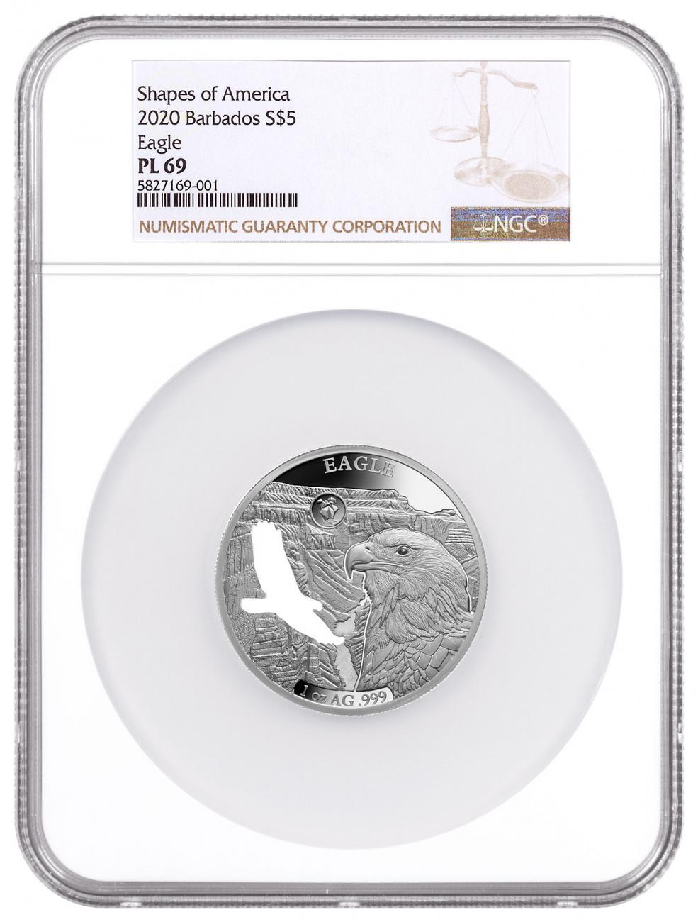 2020 Barbados Shapes of America - Cut-Out High Relief 1 oz Proof-Like Silver $5 Coin Eagle NGC PL69