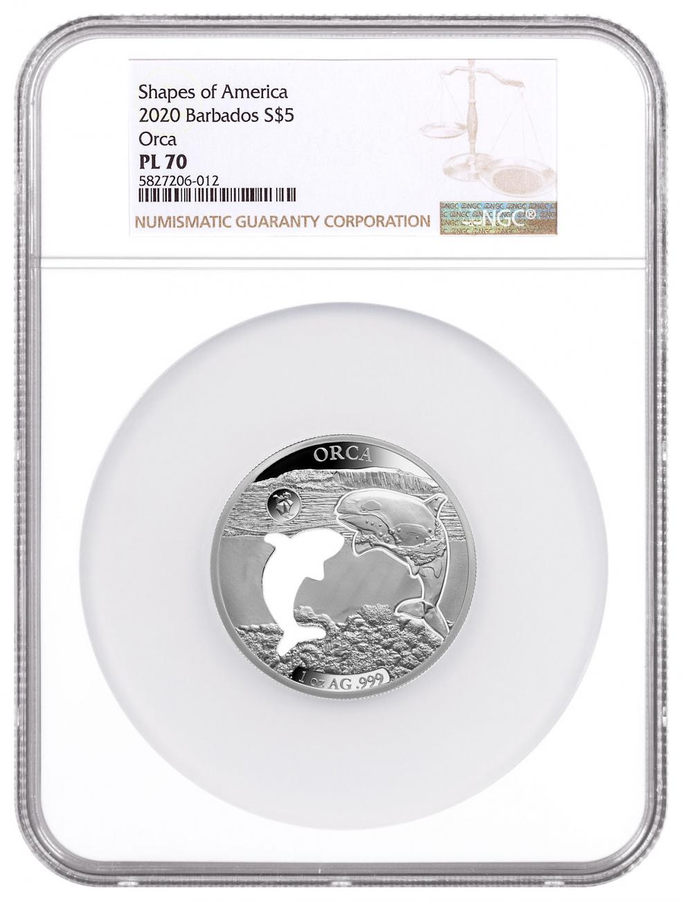 2020 Barbados Shapes of America - Cut-Out High Relief 1 oz Proof-Like Silver $5 Coin Orca NGC PL70