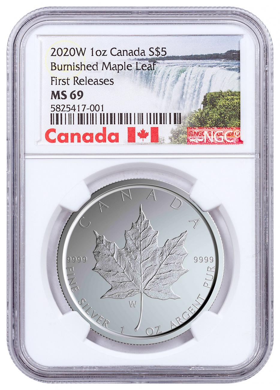2020-W Canada 1 oz Silver Maple Leaf Burnished $5 Coin NGC MS69 FR With Mint COA Exclusive Canada Label