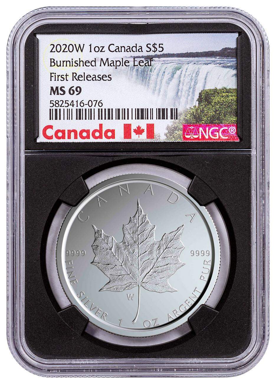 2020-W Canada 1 oz Silver Maple Leaf Burnished $5 Coin NGC MS69 FR With Mint COA Black Core Holder Exclusive Canada Label