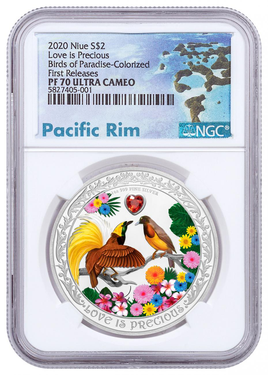 2020 Niue Love is Precious - Birds of Paradise 1 oz Silver Colorized Proof $2 Coin NGC PF70 UC FR Exclusive Pacific Rim Label