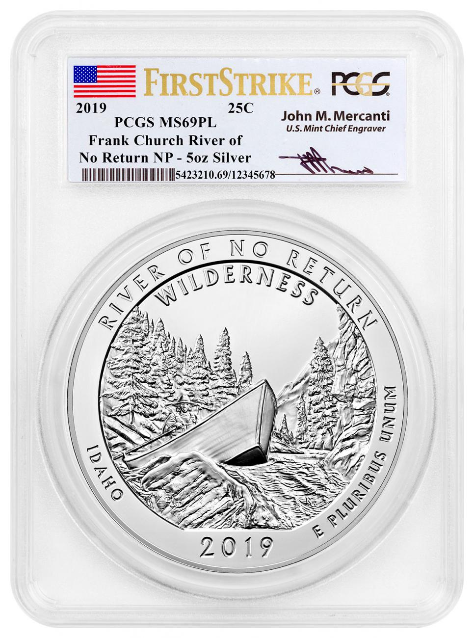 2019 25C Frank Church River of No Return (Idaho) 5 oz. Silver ATB America the Beautiful Coin PCGS MS69 PL FS Mercanti Signed Label