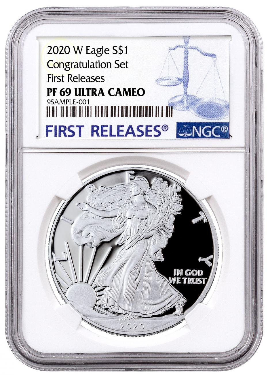 2020-W 1 oz Proof Silver American Eagle Congratulations Set NGC PF69 UC FR