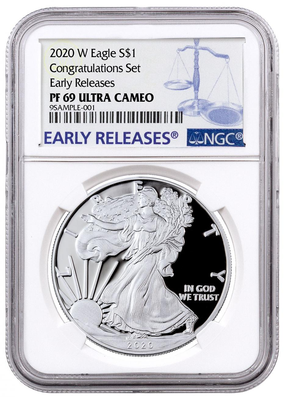 2020-W 1 oz Proof Silver American Eagle Congratulations Set NGC PF69 UC ER