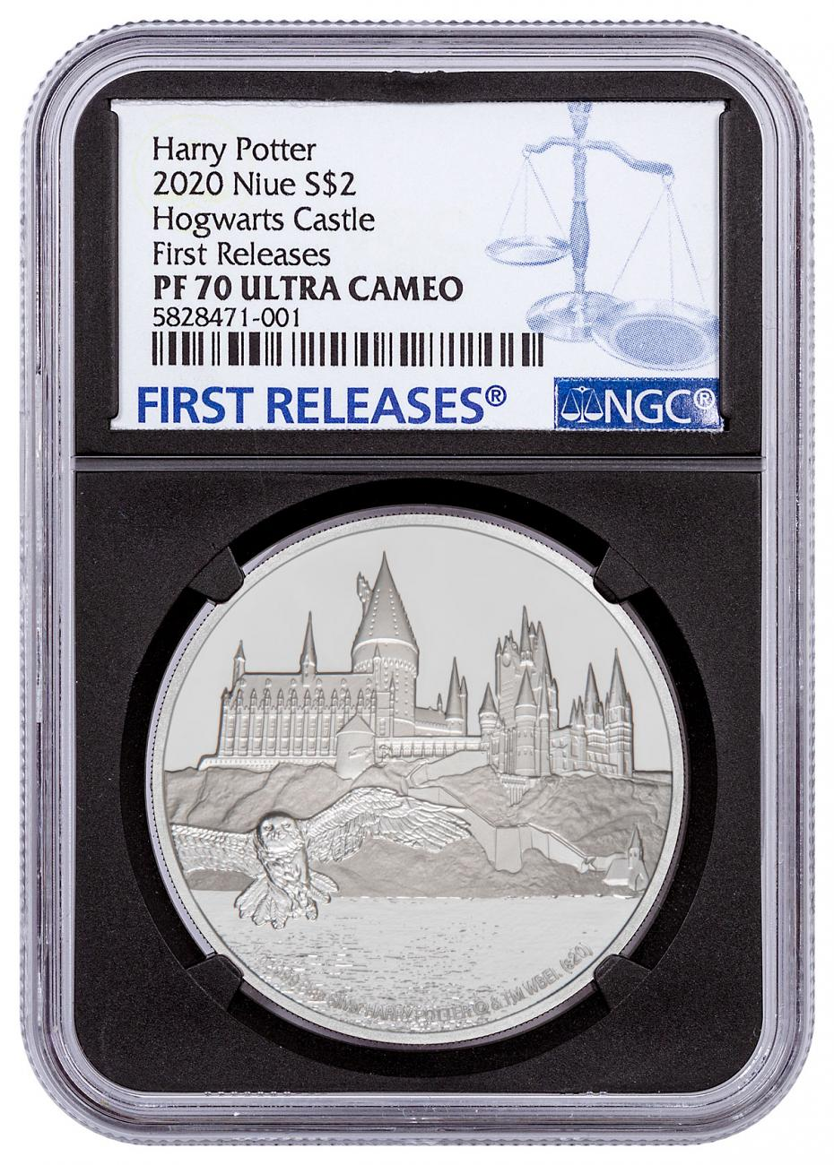 2020 Niue Harry Potter - Hogwarts 1 oz Silver Proof $2 Coin NGC PF70 UC FR Black Core Holder