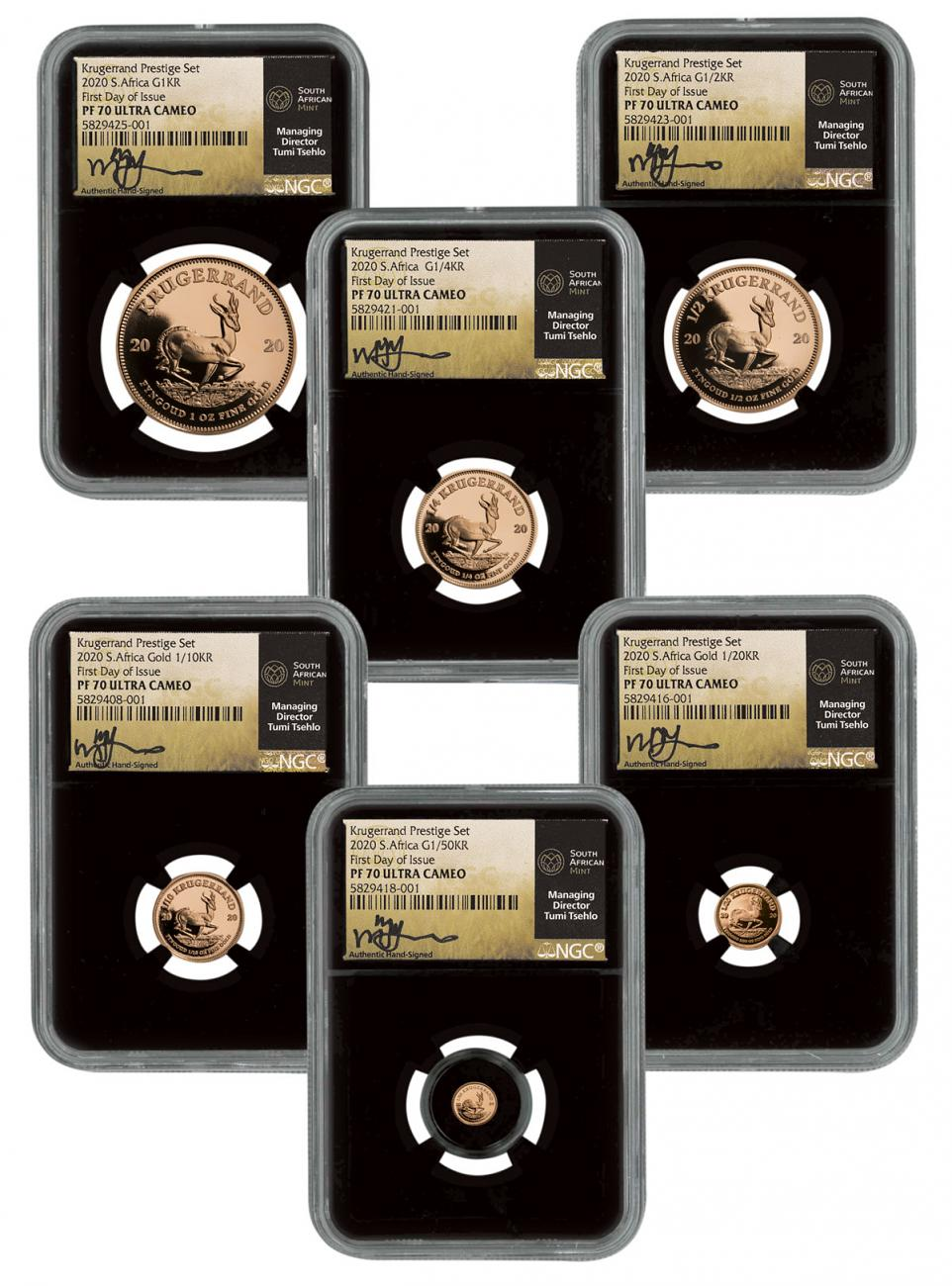 6-Piece Set - 2020 Gold Krugerrand Proof Scarce and Unique Coin Division NGC PF70 UC FDI Tumi Signed Label
