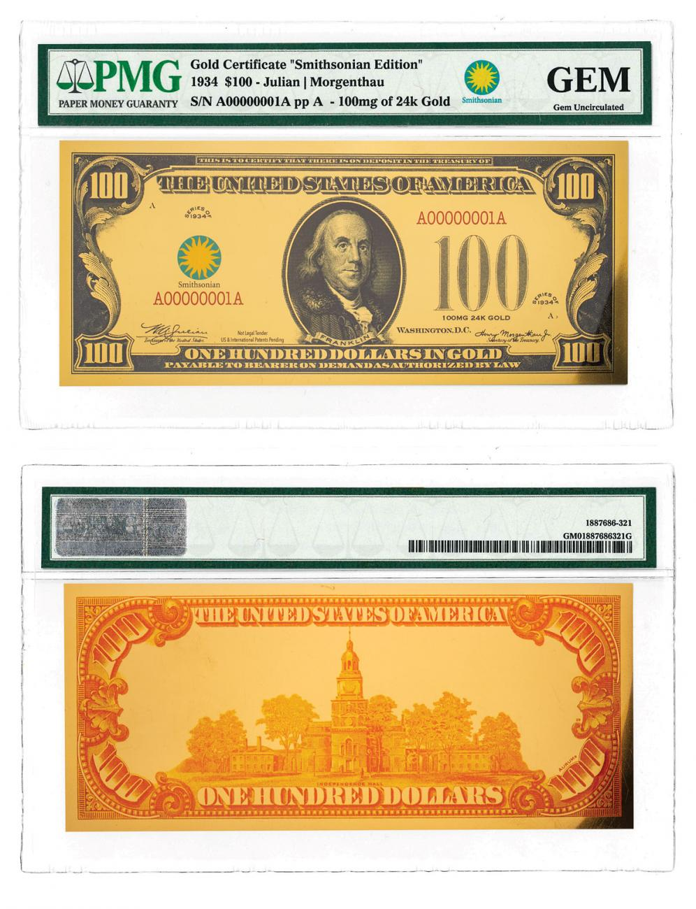 $100 24K Gold Certificate - Smithsonian Edition 1934 PMG GEM
