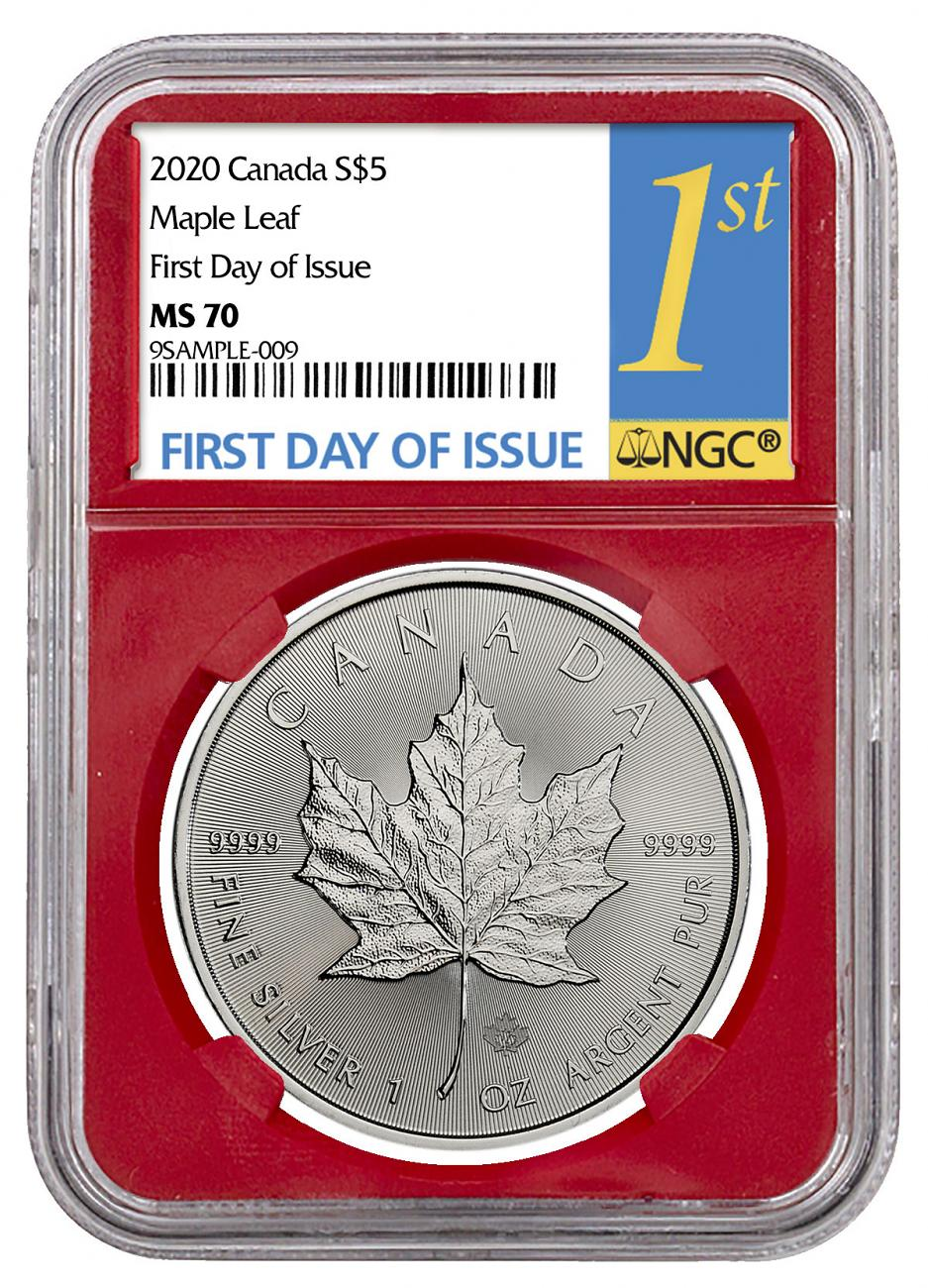 2020 Canada 1 oz Silver Maple Leaf $5 Coin NGC MS70 FDI Red Core Holder
